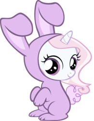 Size: 1000x1285   Tagged: safe, artist:cool77778, fleur-de-lis, pony, unicorn, bipedal, bunny costume, clothes, cute, female, filly, fleurabetes, looking at you, simple background, sitting, smiling, solo, transparent background, vector, younger