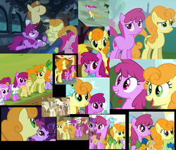 Size: 860x731   Tagged: safe, screencap, applecore, berry punch, berryshine, carrot top, con mane, donut joe, golden harvest, lyra heartstrings, noi, piña colada, earth pony, pony, unicorn, mmmystery on the friendship express, sisterhooves social, carrotjoe, collage, compilation, donut joe gets all the mares, female, filly, headband, male, mare, piña cutelada, ponies standing next to each other