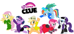 Size: 900x422   Tagged: safe, artist:doctorxfizzle, applejack, fluttershy, pinkie pie, rainbow dash, rarity, twilight sparkle, earth pony, pegasus, pony, unicorn, board game, clothes, clue, cluedo, colonel mustard, crossover, female, mane six, mare, miss scarlet, mr. green, mrs. peacock, mrs. white, professor plum