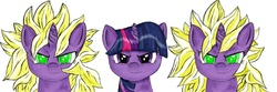 Size: 3000x1000   Tagged: safe, artist:bronysaiyan, twilight sparkle, pony, unicorn, crossover, dragon ball, female, looking at you, mare, simple background, super saiyan, white background
