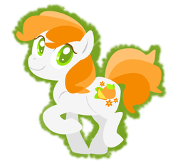 Size: 918x843 | Tagged: safe, artist:needsmoarg4, citrus sweetheart, earth pony, pony, g3, colored pupils, female, g3 to g4, generation leap, lineless, mare, raised hoof, simple background, smiling, solo, white background