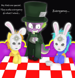 Size: 1681x1737 | Tagged: safe, artist:blackbewhite2k7, spike, dragon, pony, arkham city, batman, crazy face, crossover, cup, faic, jervis tetch, mad hatter, male, mask, parody, teacup