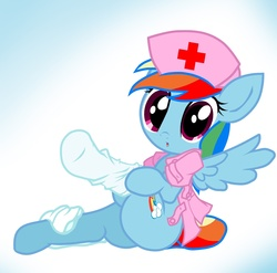 Size: 2027x2000 | Tagged: safe, artist:pyruvate, rainbow dash, pegasus, pony, butt, clothes, cute, female, gradient background, high res, looking at you, mare, nurse, plot, sitting, socks, solo