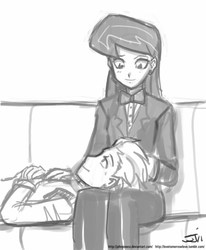 Size: 659x800 | Tagged: artist:johnjoseco, couch, crack shipping, female, grayscale, head on lap, human, humanized, male, monochrome, octavia melody, on back, rarepair, safe, shipping, sitting, smiling, spike, spiketavia, straight