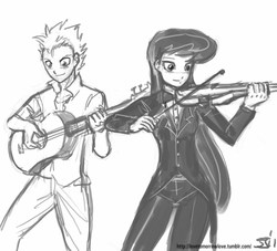 Size: 1000x909 | Tagged: artist:johnjoseco, female, grayscale, guitar, human, humanized, male, monochrome, octavia melody, safe, simple background, spike, spiketavia, violin, white background