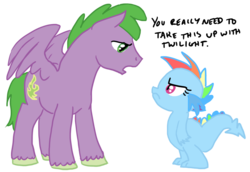 Size: 900x620 | Tagged: safe, artist:bux, rainbow dash, spike, dragon, pegasus, pony, baby, baby dragon, dragonified, duo, eye contact, female, frown, looking at each other, male, ponified, ponified spike, rainbow dragon, simple background, species swap, stallion, transparent background, unshorn fetlocks