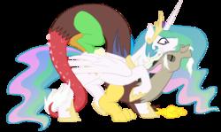 Size: 1000x597 | Tagged: safe, artist:bux, discord, princess celestia, alicorn, pony, dislestia, female, male, mare, neck nuzzle, nuzzling, shipping, simple background, straight, surprised, transparent background