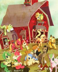 Size: 840x1050 | Tagged: safe, artist:hinoraito, apple bloom, apple bumpkin, apple fritter, apple strudel, applejack, aunt orange, big macintosh, braeburn, caramel apple, golden delicious, granny smith, red delicious, red gala, uncle orange, winona, earth pony, pony, apple family, apple family member, barn, female, lasso, male, mare, stallion, sweet apple acres, the oranges, unshorn fetlocks