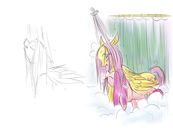 Size: 1600x1200   Tagged: safe, fluttershy, pinkie pie, earth pony, pegasus, pony, female, flutterpie, lesbian, mare, shipping, shower, shower curtain, wet mane