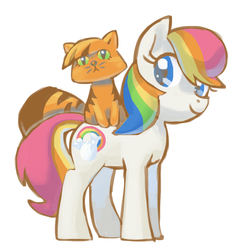 Size: 800x866 | Tagged: safe, artist:needsmoarg4, first born, twinkles, cat, earth pony, pony, g1, female, g1 to g4, generation leap, mare, simple background, smiling, white background