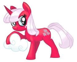 Size: 936x751 | Tagged: safe, artist:needsmoarg4, snowflake (g1), pony, unicorn, cloud, female, g1, g1 to g4, generation leap, mare, simple background, smiling, solo, white background