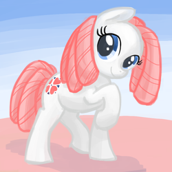 Size: 800x800 | Tagged: safe, artist:needsmoarg4, sundance, earth pony, pony, abstract background, female, g1, g1 to g4, generation leap, mare, raised hoof, smiling, solo