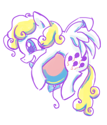 Size: 888x1044 | Tagged: safe, artist:needsmoarg4, surprise, pegasus, pony, balloon, female, g1, g1 to g4, generation leap, grin, mare, simple background, smiling, solo, white background