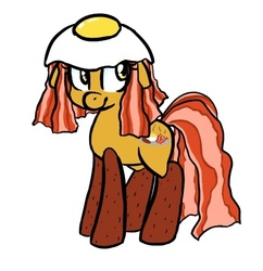 Size: 474x490 | Tagged: safe, artist:jessy, food pony, original species, augmented tail, bacon, bacon and eggs, female, simple background, solo, white background
