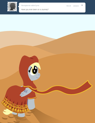 Size: 770x1000   Tagged: safe, derpy hooves, pegasus, pony, ask a mailmare, ask, clothes, desert, female, journey, mare, smiling, solo