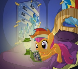 Size: 1083x957 | Tagged: artist:from-yesterday-xx, bed, bedroom, book, daring do and the sapphire statue, female, filly, interior, lantern, pegasus, pony, poster, prone, rainbow dash hat, rainbow wig, safe, scootaloo, smiling, solo, wonderbolts, wonderbolts poster