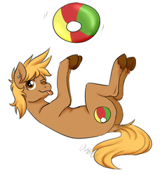 Size: 980x1075 | Tagged: dead source, safe, artist:cartoonlion, oc, oc only, oc:beach ball, earth pony, pony, beach ball, dock, ear piercing, female, mare, on back, one eye closed, piercing, simple background, solo, tongue out, white background
