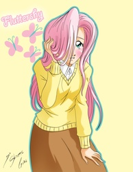 Size: 2362x3048 | Tagged: safe, artist:shinta-girl, fluttershy, human, clothes, female, hair over one eye, high res, humanized, skirt, solo, sweater, sweatershy