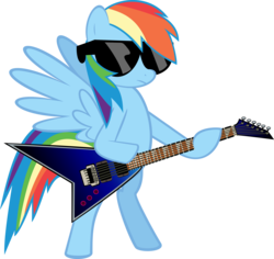 Size: 7134x6724 | Tagged: safe, artist:mysteriouskaos, rainbow dash, pegasus, pony, absurd resolution, bipedal, electric guitar, female, flying v, guitar, mare, simple background, solo, spread wings, sunglasses, transparent background, vector