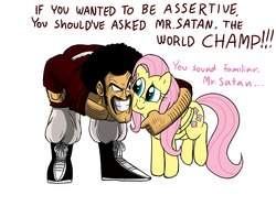 Size: 1800x1344   Tagged: safe, artist:mickeymonster, fluttershy, human, pegasus, pony, cheek squish, crossover, dragon ball, dragon ball z, duo, female, hercule, male, mare, mr. satan, simple background, squishy cheeks, white background