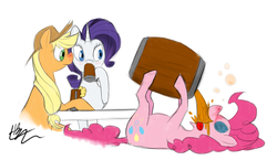 Size: 1216x704 | Tagged: safe, artist:prixt, applejack, pinkie pie, rarity, earth pony, pony, unicorn, barrel, cider, drink, drunk, female, mare, on back, swirly eyes, table, tongue out, uncouth