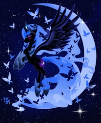 Size: 2904x3501 | Tagged: safe, artist:artist-apprentice587, nightmare moon, alicorn, butterfly, pony, blushing, crescent moon, cute, eyes closed, female, flying, high res, mare, moon, moonabetes, rearing, solo, space, stars