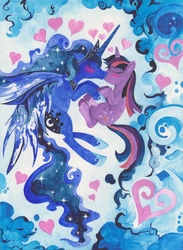 Size: 2550x3490 | Tagged: safe, artist:artist-apprentice587, princess luna, twilight sparkle, alicorn, pony, unicorn, abstract background, female, heart, high res, lesbian, mare, shipping, traditional art, twiluna, watercolor painting