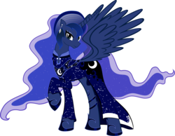 Size: 3155x2446 | Tagged: safe, artist:artist-apprentice587, princess luna, alicorn, pony, 70s, afro, alternate hairstyle, clothes, disco, dress, ear piercing, female, high res, mare, piercing, raised hoof, simple background, solo, transparent background
