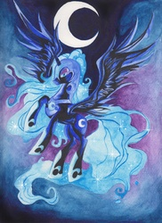 Size: 2550x3501 | Tagged: safe, artist:artist-apprentice587, nightmare moon, alicorn, pony, crescent moon, female, high res, mare, moon, rearing, solo, spread wings, traditional art, watercolor painting, wings