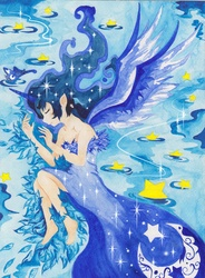 Size: 2490x3376 | Tagged: safe, artist:artist-apprentice587, princess luna, human, barefoot, clothes, dress, elf ears, eyes closed, feet, high res, horned humanization, humanized, side, solo, stars, traditional art, winged humanization, wings