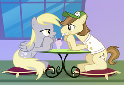 Size: 2047x1407 | Tagged: safe, artist:fizer, derpy hooves, hayseed turnip truck, earth pony, pegasus, pony, bucktooth, derpseed, duo, eye contact, female, looking at each other, male, mare, milkshake, shipping, stallion, straight, straw