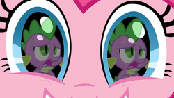 Size: 1000x563 | Tagged: safe, pinkie pie, spike, dragon, earth pony, pony, close-up, eye, eyes, female, grin, male, mare, pinkiespike, reflection, shipping, smiling, straight