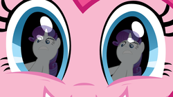Size: 1000x563 | Tagged: safe, pinkie pie, rarity, earth pony, pony, unicorn, close-up, female, grin, mare, reflection, smiling