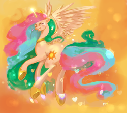 Size: 1900x1688 | Tagged: safe, artist:enigmatia, princess celestia, alicorn, pony, abstract background, female, grin, lidded eyes, looking back, mare, rear view, smiling, solo