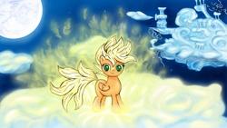 Size: 2400x1350   Tagged: safe, artist:bronysaiyan, scootaloo, pegasus, pony, cloud, cloudsdale, crossover, dragon ball, female, filly, looking at you, moon, night, super saiyan