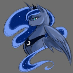 Size: 1000x1000 | Tagged: safe, artist:valkyrie-girl, princess luna, alicorn, pony, bust, female, frown, horn, jewelry, mare, portrait, regalia, simple background, solo, tiara, wings