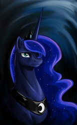 Size: 797x1297 | Tagged: safe, artist:valkyrie-girl, princess luna, alicorn, pony, abstract background, bust, female, horn, jewelry, mare, portrait, regalia, solo, tiara