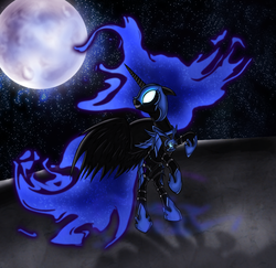 Size: 1259x1226 | Tagged: safe, artist:myhysteria, nightmare moon, alicorn, pony, armor, female, glowing eyes, grin, looking back, mare, moon, rearing, smiling, solo