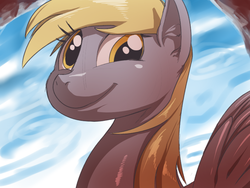 Size: 800x600 | Tagged: safe, artist:sunibee, derpy hooves, pegasus, pony, bust, female, mare, smiling, solo
