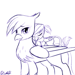 Size: 1280x1280 | Tagged: safe, artist:spittfireart, gilda, oc, oc:rainbow feather, griffon, cute, duo, duo female, eyes closed, female, griffons riding griffons, interspecies offspring, looking at you, magical lesbian spawn, monochrome, mother and daughter, offspring, parent:gilda, parent:rainbow dash, parents:gildash, prone, riding, smiling