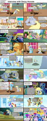 Size: 1282x3305 | Tagged: safe, screencap, applejack, bon bon, carrot top, derpy hooves, golden harvest, lyra heartstrings, mayor mare, rainbow dash, spike, sunshower raindrops, sweetie drops, dragon, earth pony, pegasus, pony, unicorn, comic:celestia's servant interview, background pony, caption, comic, female, interview, male, mare, stallion