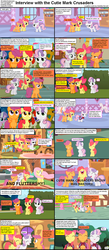 Size: 1282x2948 | Tagged: adorabloom, apple bloom, caption, carousel boutique, colt, comic, comic:celestia's servant interview, cute, cutealoo, cutie mark crusaders, diamond tiara, diasweetes, earth pony, female, filly, fluttershy, fluttershy's cottage, interview, male, mare, pegasus, pony, safe, scootaloo, screencap, snails, sweetie belle, twist, unicorn