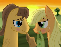 Size: 1024x791 | Tagged: safe, artist:blablashmo, applejack, caramel, earth pony, pony, backlighting, blushing, carajack, eye contact, female, hat, looking at each other, male, mare, mouth hold, shipping, smiling, stallion, straight, sunset