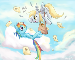 Size: 1500x1200 | Tagged: safe, artist:balderdashington, derpy hooves, rainbow dash, pegasus, pony, cloud, duo, duo female, female, letter, looking at each other, mail, mailbag, mare, on back