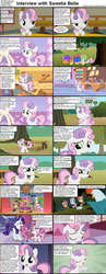 Size: 1282x3304 | Tagged: apple bloom, caption, cockatrice, comic, comic:celestia's servant interview, cutie mark crusaders, earth pony, edit, edited screencap, female, filly, foal, interview, mare, pegasus, pony, rarity, safe, scootaloo, screencap, screencap comic, sweetie belle, tree sap, unicorn