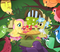 Size: 954x838 | Tagged: safe, artist:peppersupreme, constance, doctor fauna, fluttershy, bird, blue jay, earth pony, hummingbird, pegasus, pony, cup, female, mare, pillow, sitting, teacup, teapot