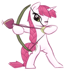 Size: 776x849 | Tagged: safe, artist:needsmoarg4, lovestruck, pony, unicorn, aiming, bipedal, bow (weapon), female, mare, one eye closed, simple background, solo, white background