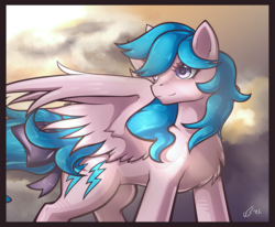 Size: 1348x1110 | Tagged: safe, artist:chibi-blackdoom, firefly, pegasus, pony, chest fluff, crepuscular rays, female, g1, g1 to g4, generation leap, looking back, mare, solo