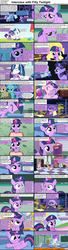 Size: 1282x4733 | Tagged: safe, screencap, candy mane, night light, princess cadance, princess celestia, shining armor, twilight sparkle, twilight velvet, alicorn, earth pony, pony, unicorn, comic:celestia's servant interview, caption, comic, female, filly, filly twilight sparkle, foal, interview, male, mare, stallion, teen princess cadance, teenager
