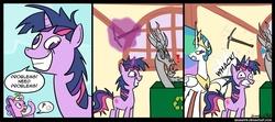 Size: 900x400 | Tagged: safe, artist:braindps, discord, princess celestia, screwball, twilight sparkle, alicorn, earth pony, pony, unicorn, comic, dope slap, female, grin, mare, no pupils, pickaxe, smiling, twilight snapple